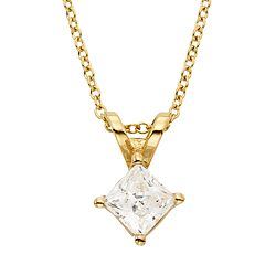 1/2 Carat T.W. IGL Certified Diamond 18k Gold Solitaire Pendant Necklace
