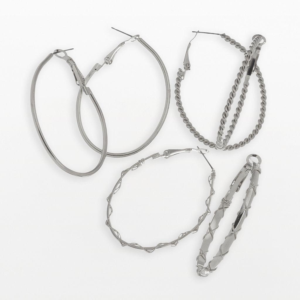 SO® Oval Hoop Earring Set