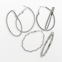SO® Oval Hoop Earring Set