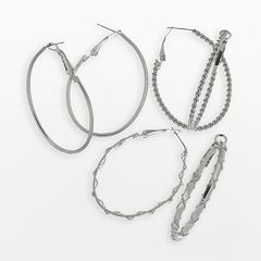 Mudd® Oval Hoop Earring Set
