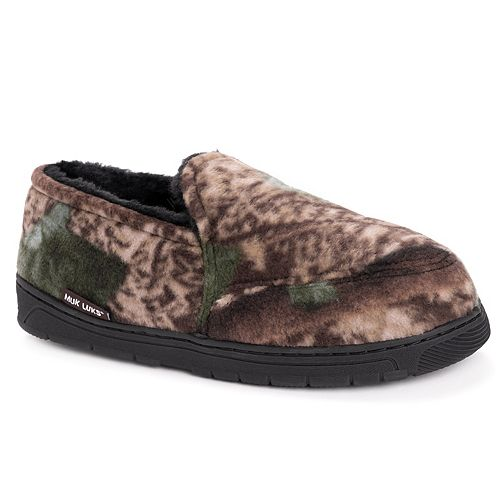 MUK LUKS Men's Camouflage Fleece Slippers