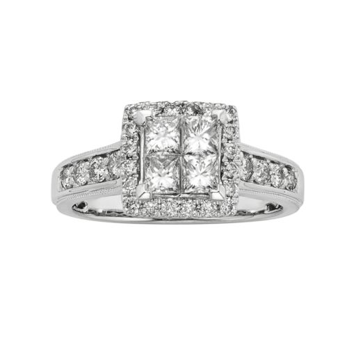 IGL Certified Diamond Square Halo Engagement Ring in 14k White Gold (1 ct. T.W.)