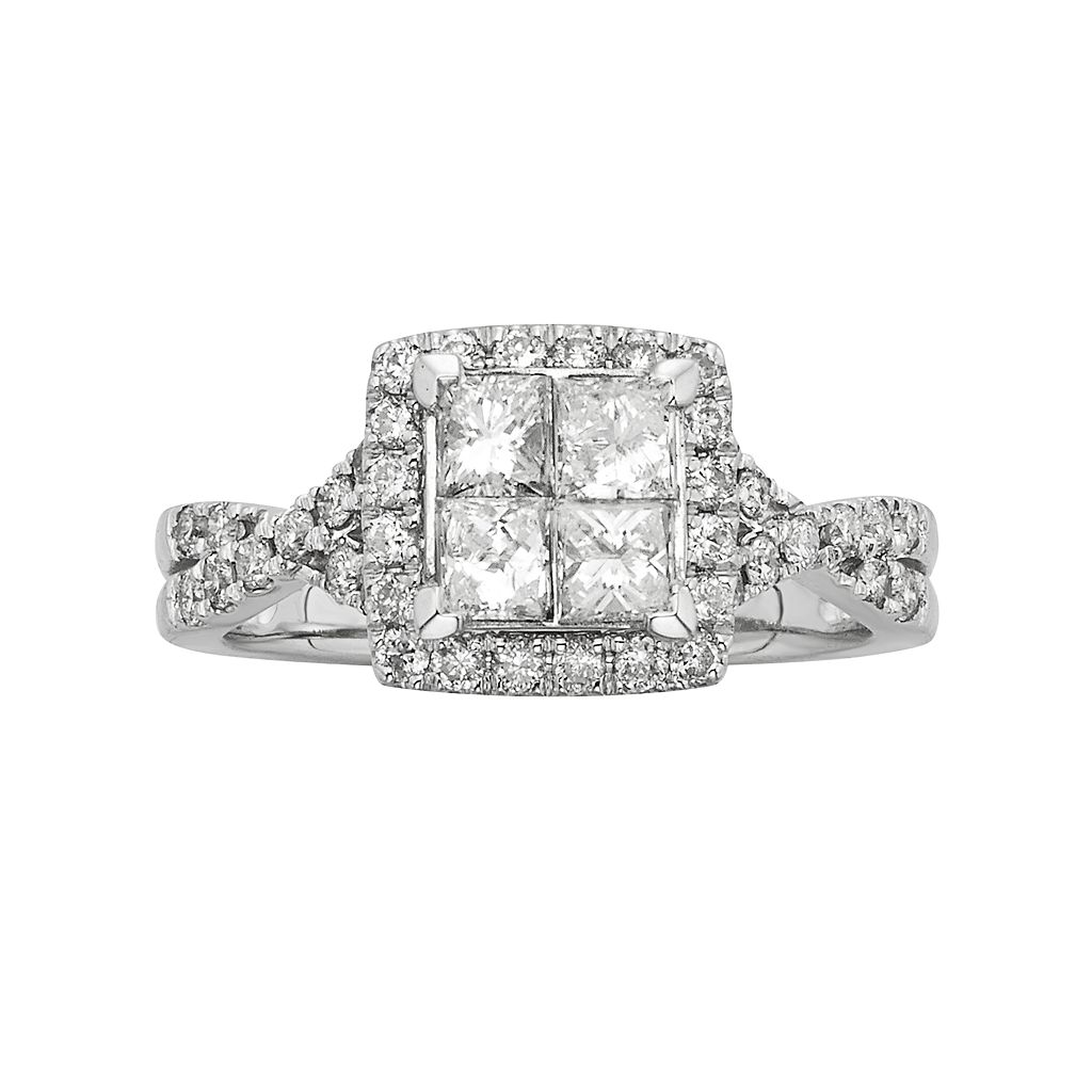 IGL Certified Diamond Crisscross Square Halo Engagement Ring in 14k White Gold (1 ct. T.W.)