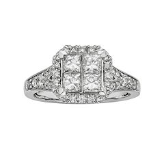 IGL Certified Diamond Octagonal Halo Engagement Ring in 14k White Gold (1 ctT.W.)