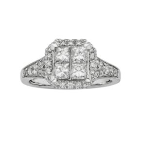 IGL Certified Diamond Octagonal Halo Engagement Ring in 14k White Gold (1 ct. T.W.)