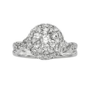 IGL Certified Diamond Crisscross Halo Engagement Ring in 14k White Gold (1 ct. T.W.)