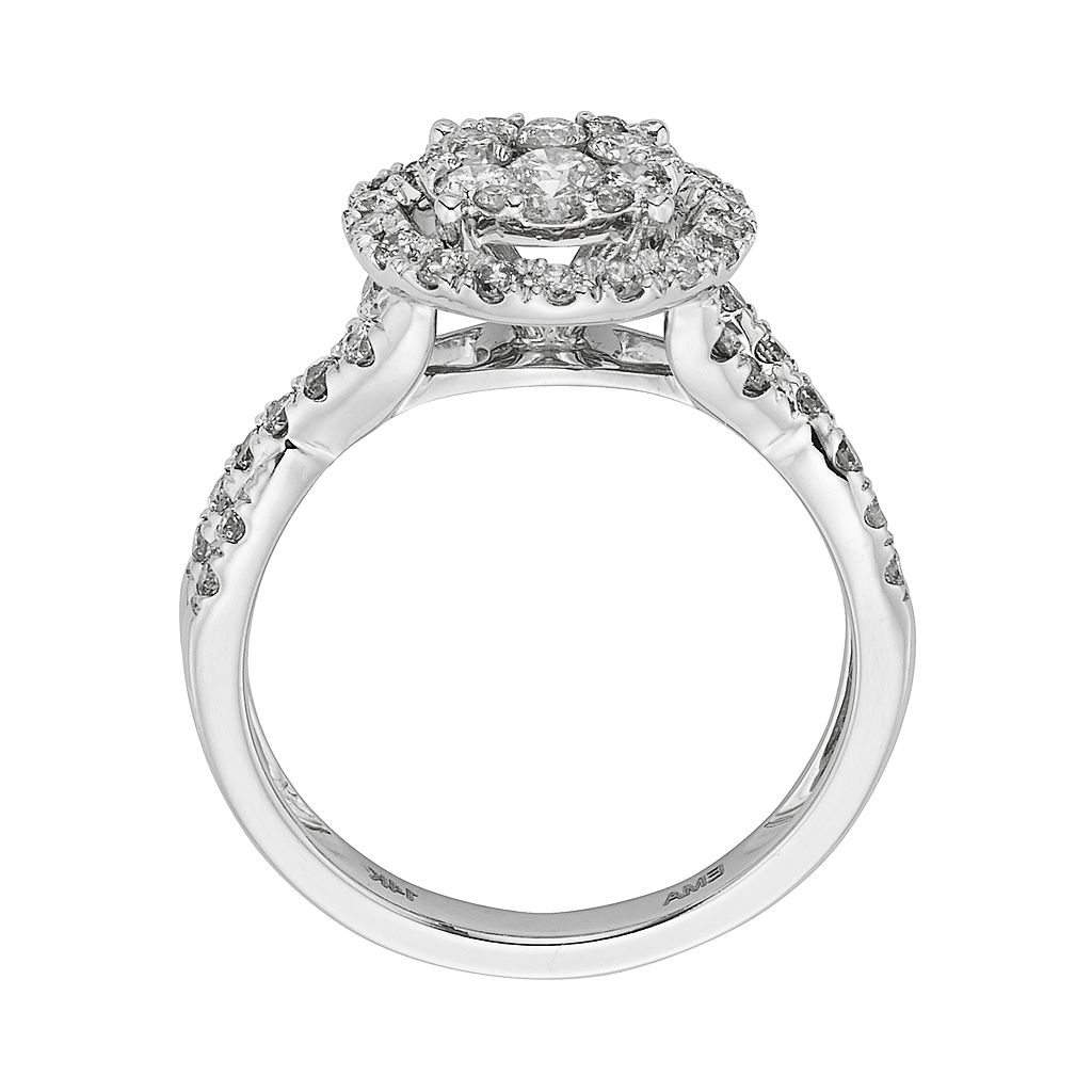 IGL Certified Diamond Crisscross Halo Engagement Ring in 14k White Gold (1 ct. T.W.)