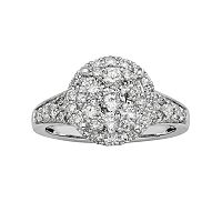 IGL Certified Diamond Halo Engagement Ring in 14k White Gold (1 ctT.W.)