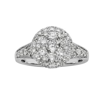 IGL Certified Diamond Halo Engagement Ring in 14k White Gold (1 ct. T.W.)
