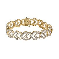 14k Gold Over Silver 2-ct. T.W. Diamond Heart Bracelet