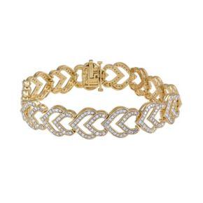 14k Gold Over Silver 2-ct. T.W. Diamond Heart Bracelet