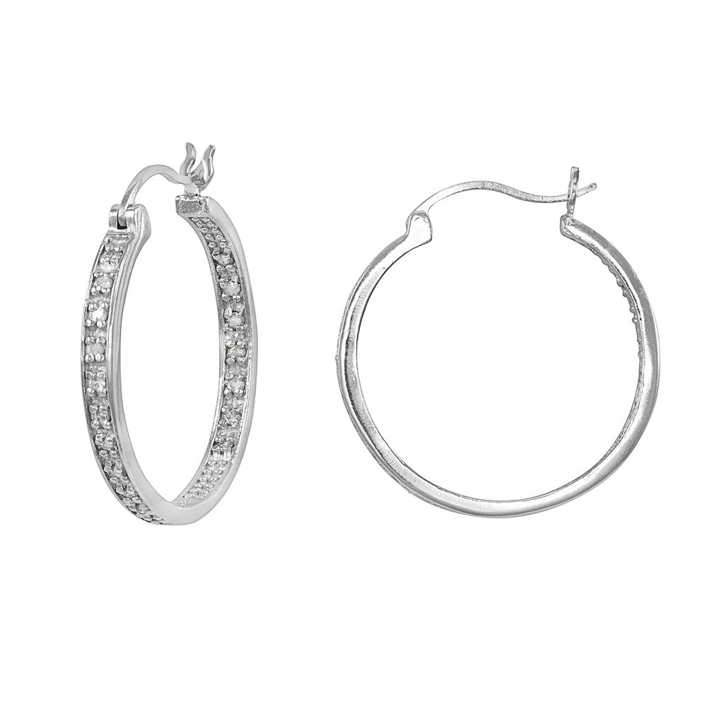 Sterling Silver 1/4-ct. T.W. Diamond Hoop Earrings