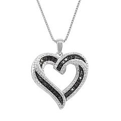 Sterling Silver 1/4-ct. T.W. Black & White Diamond Heart Pendant