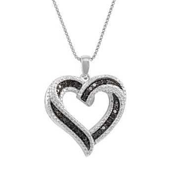 Sterling silver 14 ct tw black white diamond heart pendant tw black white diamond heart pendant mozeypictures Images