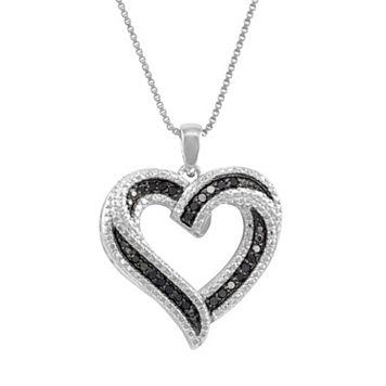 Sterling Silver 1/4-ct. T.W. Black & White Diamond Heart Pendant