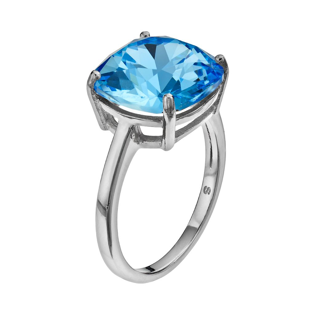 Illuminaire Silver-Plated Crystal Solitaire Ring - Made with Swarovski Crystals