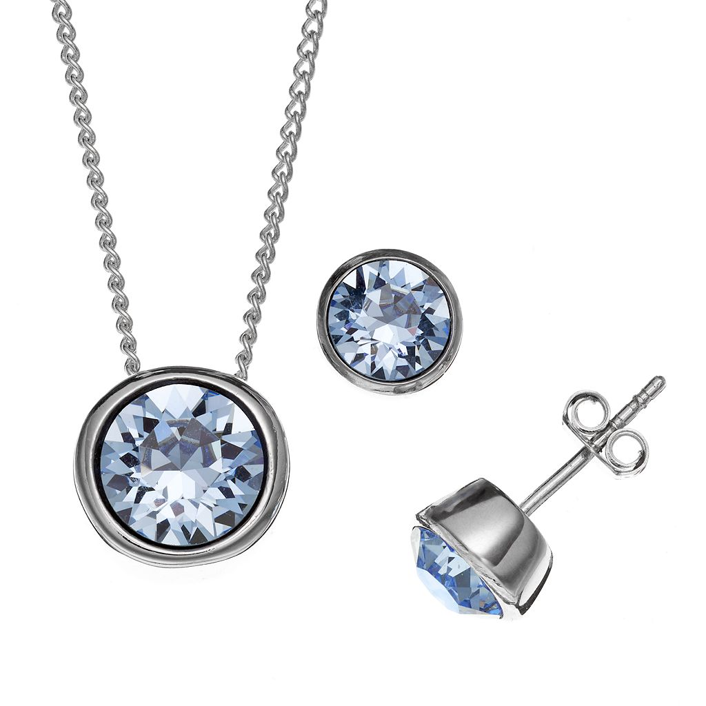 Illuminaire Silver-Plated Crystal Solitaire Pendant & Stud Earring Set - Made with Swarovski Crystals