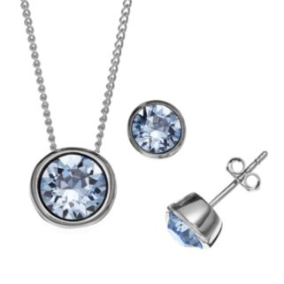 Illuminaire Silver-Plated Crystal Solitaire Pendant and Stud Earring Set - Made with Swarovski Crystals