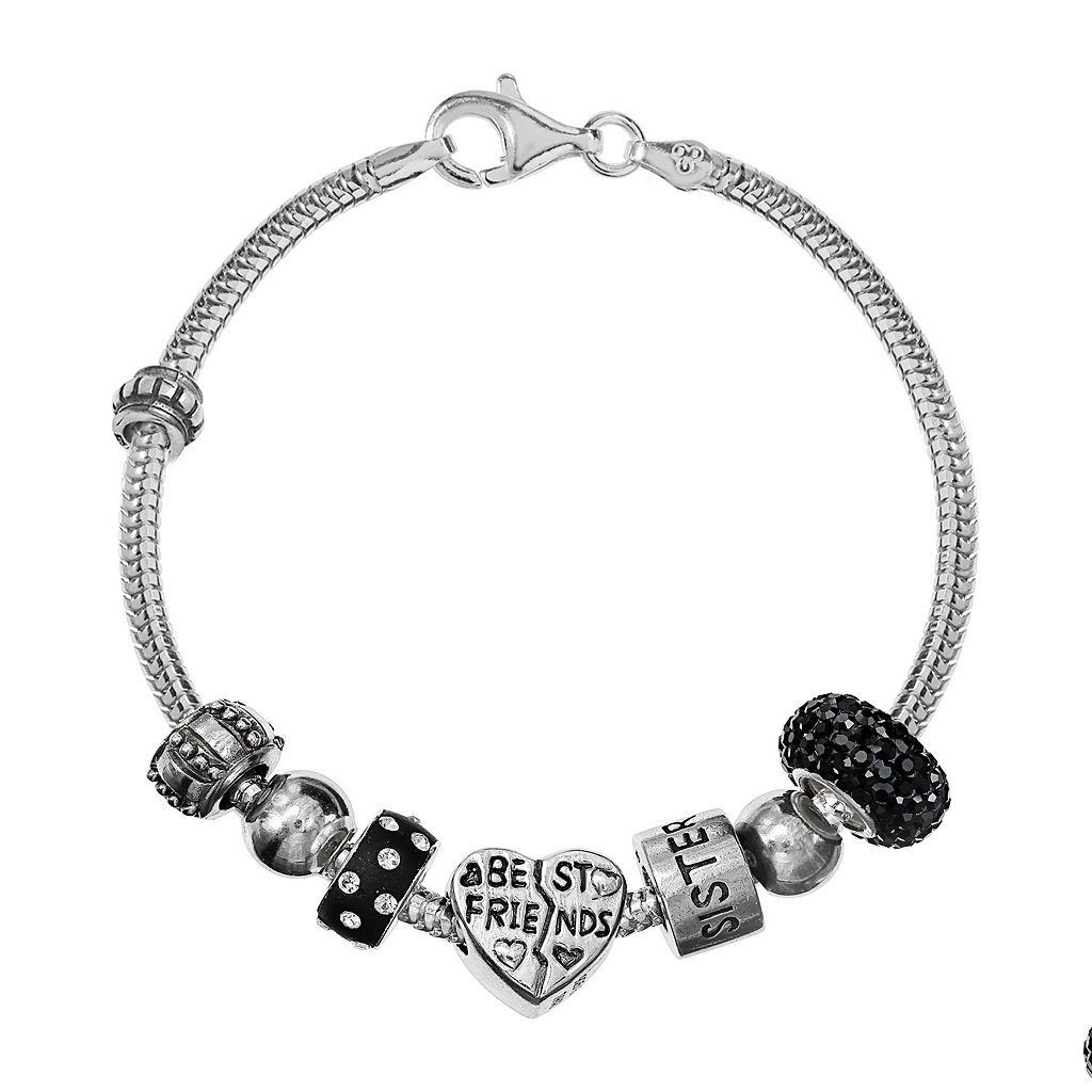 Individuality Beads Sterling Silver Snake Chain Bracelet & Crystal