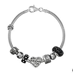 Individuality Beads Sterling Silver Snake Chain Bracelet & Crystal 'Best Friends' & Sisters Bead Set