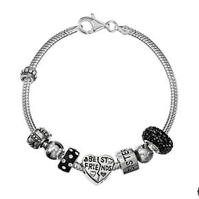 "Individuality Beads Sterling Silver Snake Chain Bracelet and Crystal ""Best Friends"" and Sisters Bead Set"