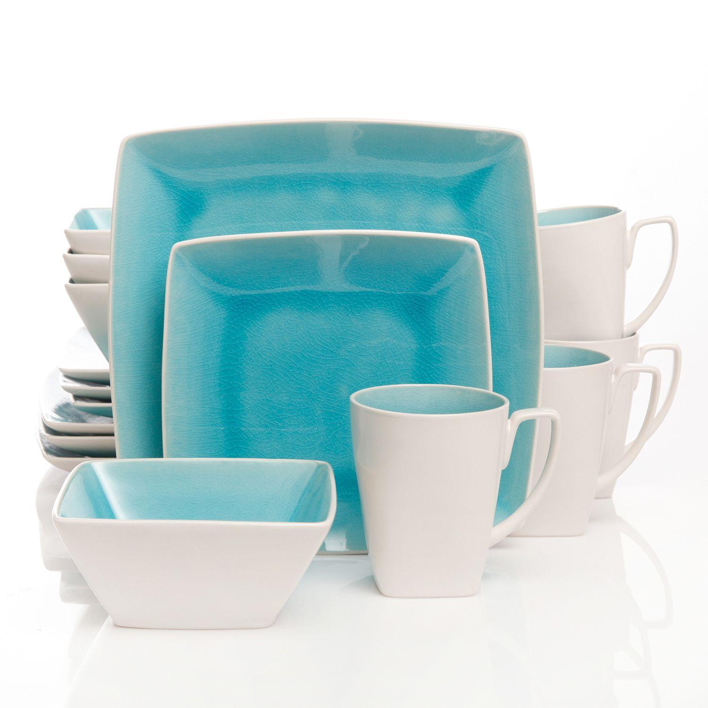 gibson elite urban luxe 16pc square dinnerware set