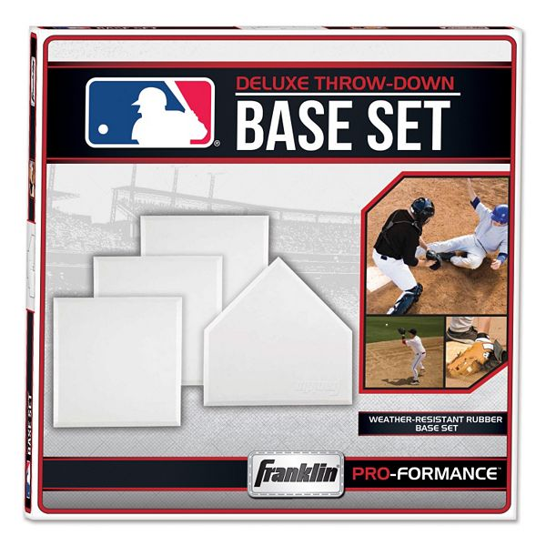 4 White Throw Down Style Bases Franklin Sports MLB Heavy Duty Rubber Base Set