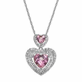 Sterling Silver Lab-Created Pink Sapphire and Lab-Created White Sapphire Heart Pendant