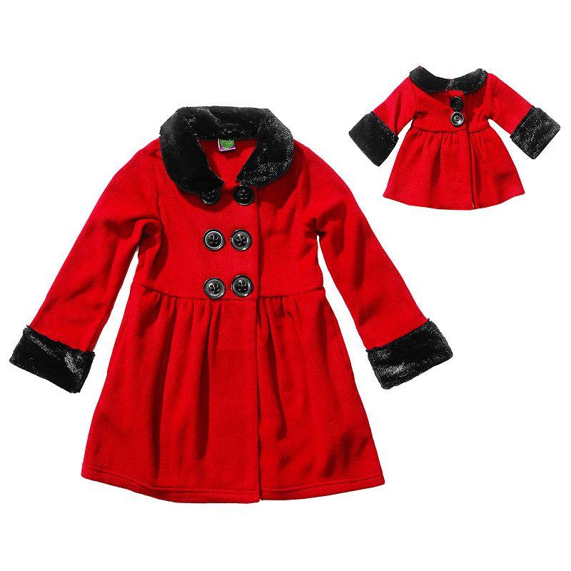 Dollie & Me Long Sleeve Fleece Coat Set - Girls' 7-16