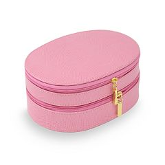 Bey-Berk Oval Leather Jewelry Case