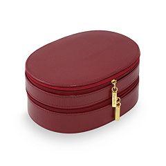 Bey-Berk Oval Leather Jewelry Case