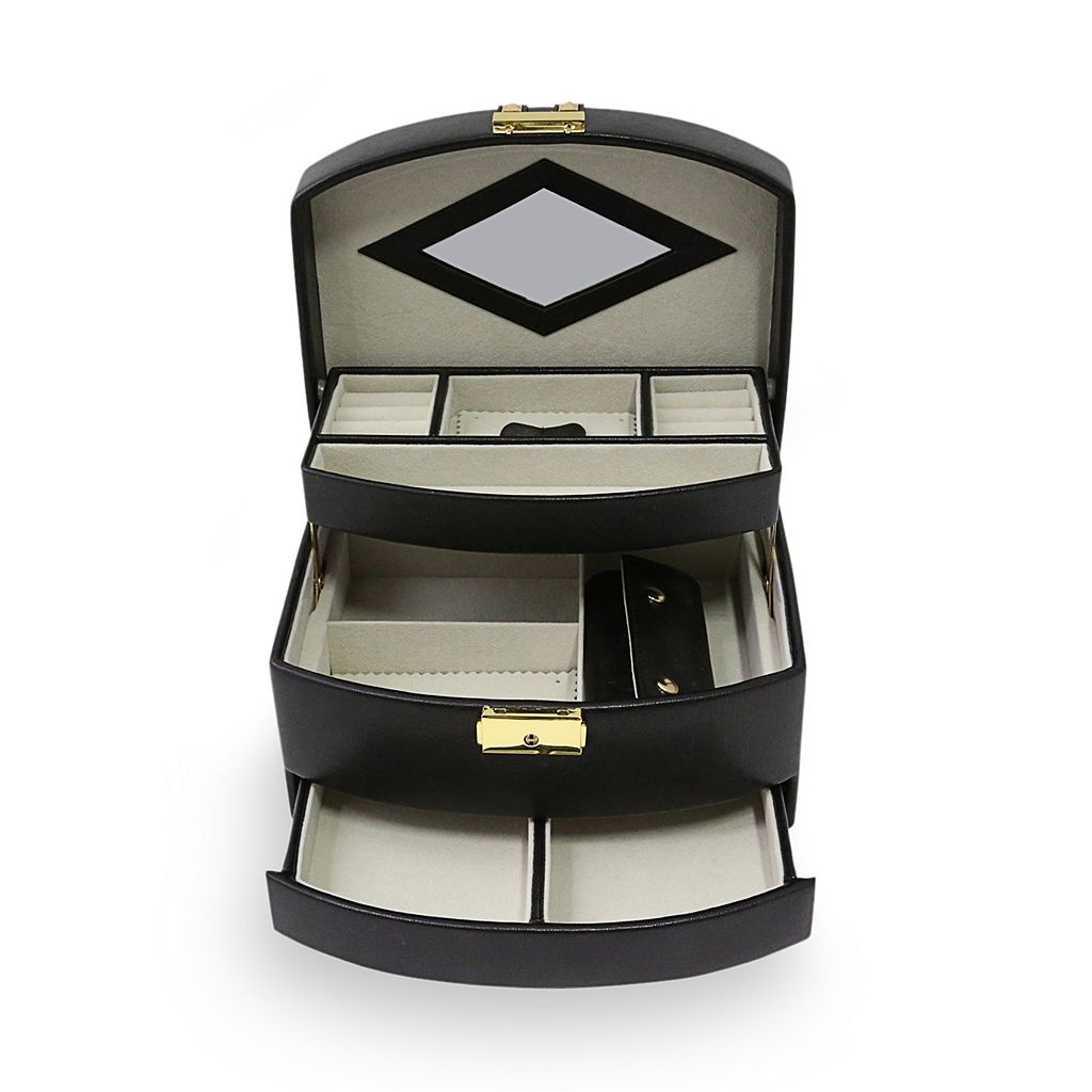 Bey-Berk Stud Leather Jewelry Box and Travel Roll Set