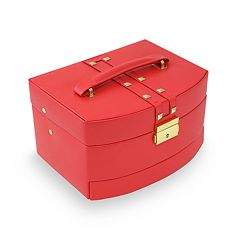 Bey-Berk Stud Leather Jewelry Box & Travel Roll Set