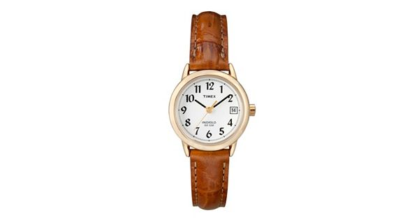 Timex women 39 s easy reader leather watch t2j761kz for Small size womans watch
