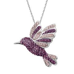 Artistique Sterling Silver Crystal Hummingbird Pendant - Made with Swarovski Crystals
