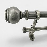 22 Park West Capped Ball Adjustable Double Curtain Rod - 18'' - 36''