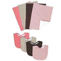 Trend Lab Cocoa Coral Bib & Burp Cloth Set