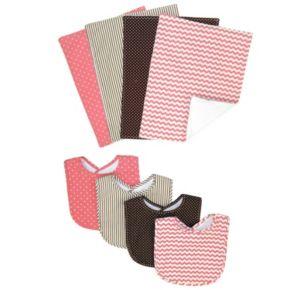 Trend Lab Cocoa Coral Bib and Burp Cloth Set