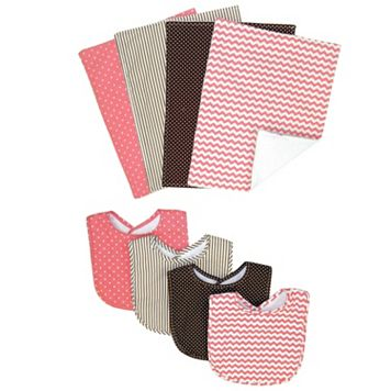 Trend Lab Cocoa Coral Bib & Burp Cloth Set