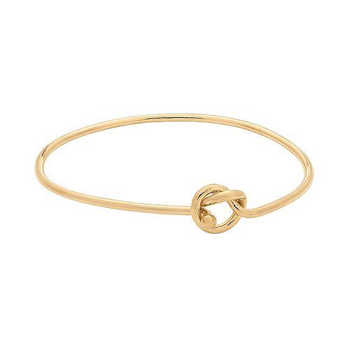 14k Gold Over Silver Love Knot Bangle Bracelet