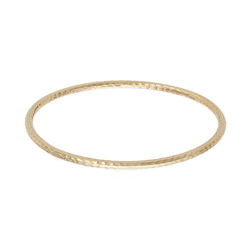 14k Gold Hammered Bangle Bracelet