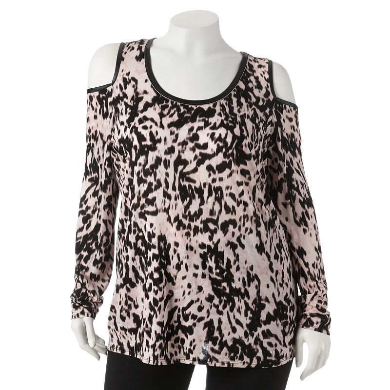 Jennifer Lopez Leopard Cold-Shoulder Top - Women's Plus