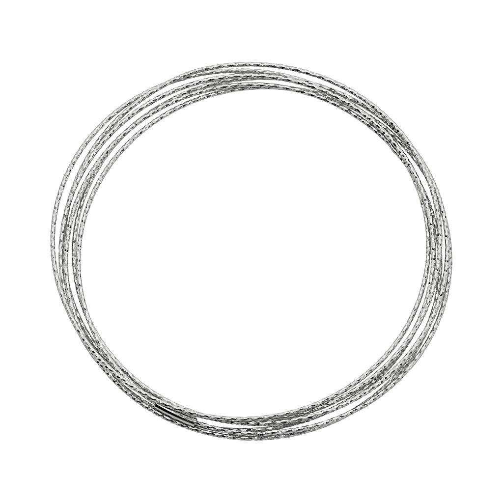 Sterling Silver Interlocking Bangle Bracelet