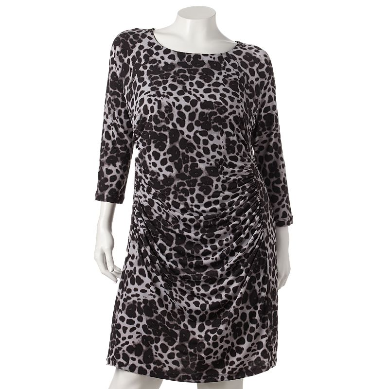 Jennifer Lopez Leopard Ruched Sheath Dress - Women's Plus Size