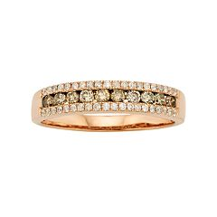 Espresso Natural Color Diamonds 10k Rose Gold 1/2 ctT.W. Brown & White Diamond Ring