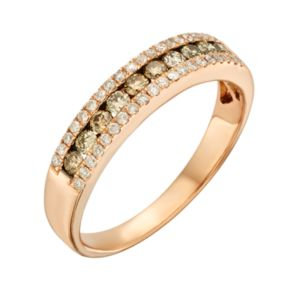 Espresso Natural Color Diamonds 10k Rose Gold 1/2-ct. T.W. Brown and White Diamond Ring
