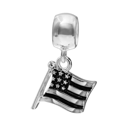 Individuality Beads Sterling Silver American Flag Charm