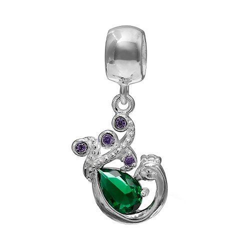 Individuality Beads Sterling Silver Crystal Peacock Charm