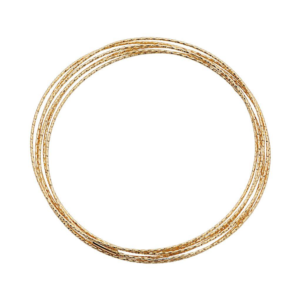 14k Gold Over Silver Interlocking Bangle Bracelet