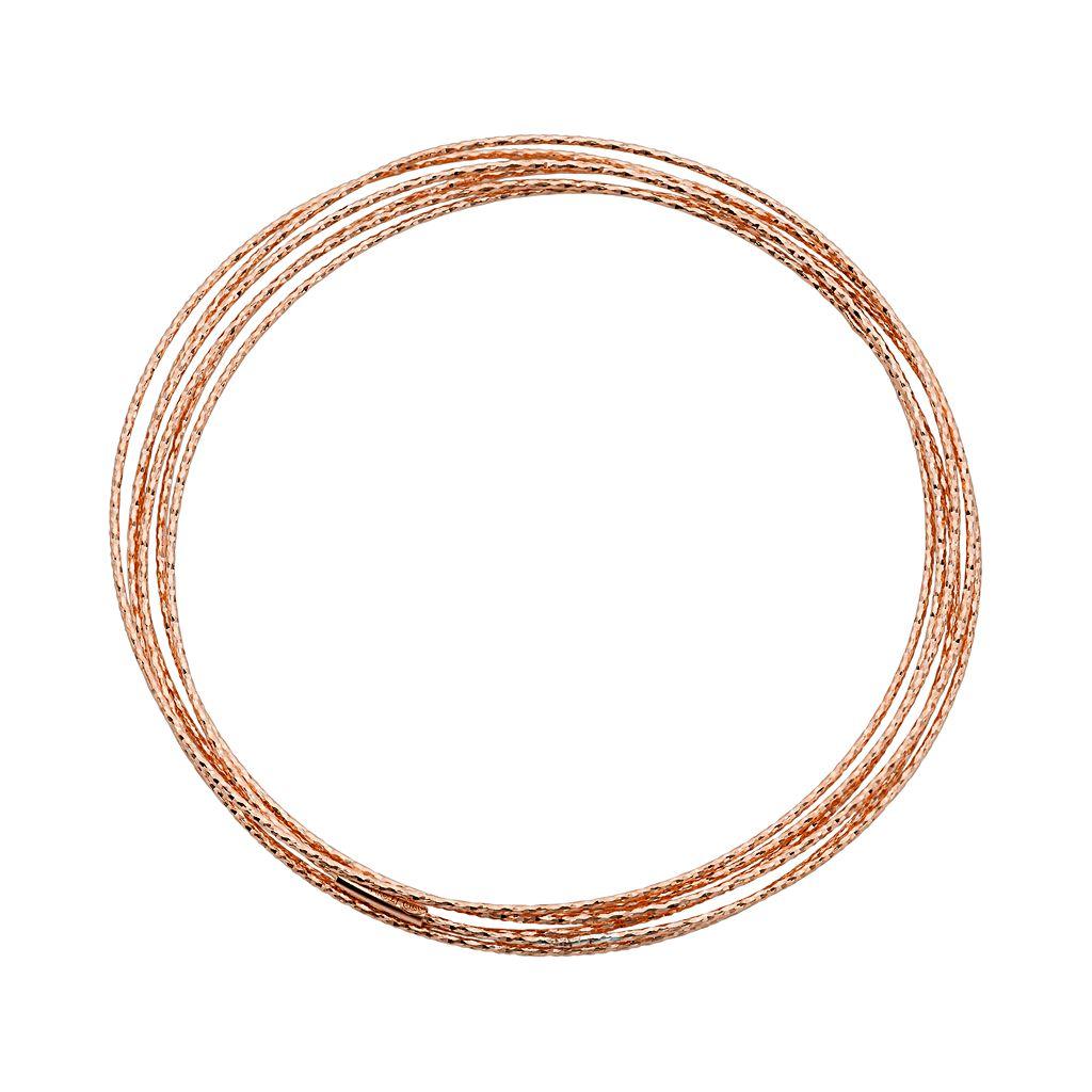 14k Rose Gold Over Silver Interlocking Bangle Bracelet